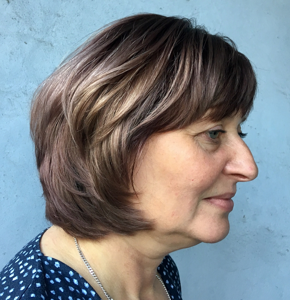 Chin-Length Layered Hairstyles with Bangs