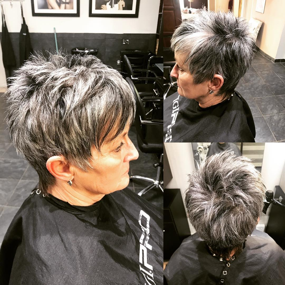 Salt and Pepper Spiky Pixie over 60