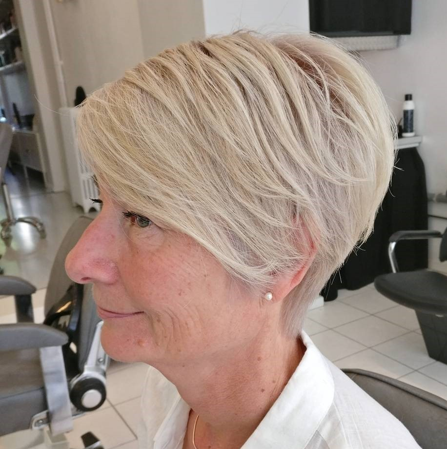 Wedge Pixie Haircut Above the Ear for 60 and Over