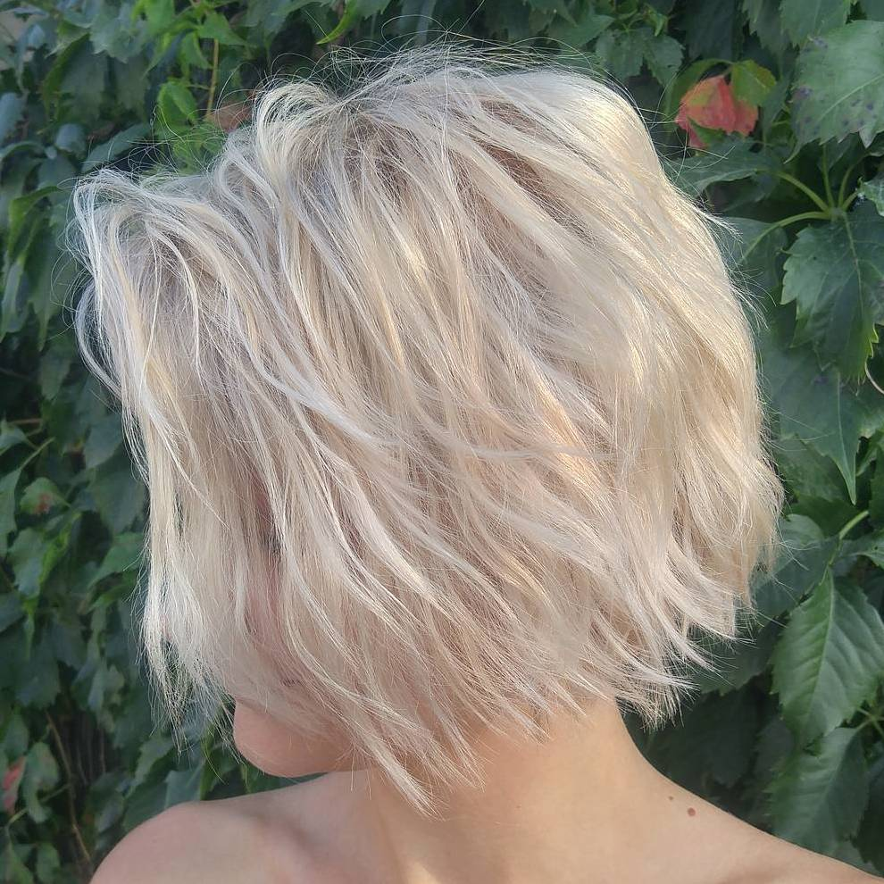Messy Ash Blonde Wavy Bob