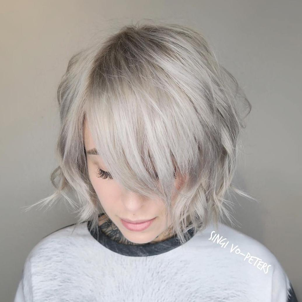 Short Gray Wavy Bob with Bangs for Thin Hair