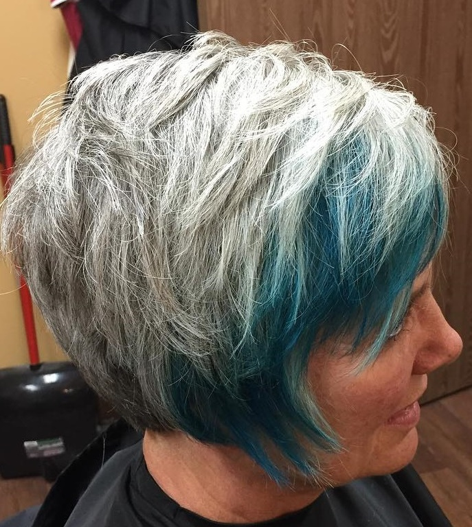 Gray Silver Hairstyle with Partial Teal Balayage
