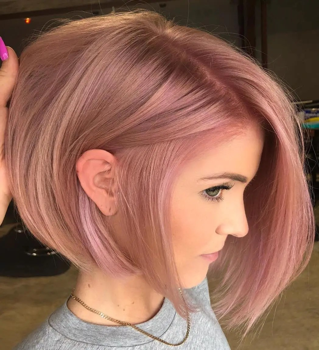 Short Pastel Pink Fine Bob