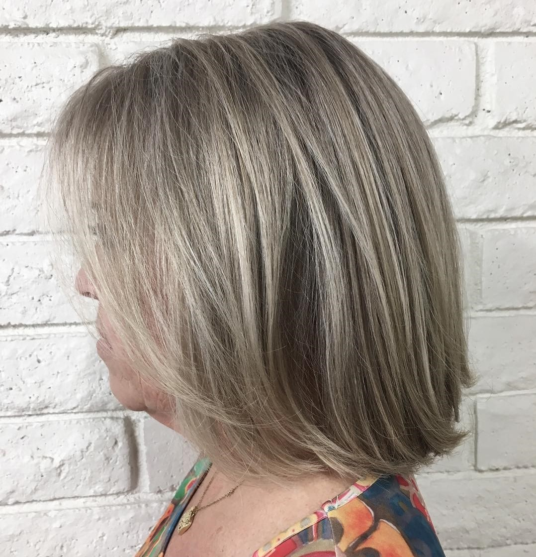 60+ Medium Straight Ash Bronde Bob Hairstyle