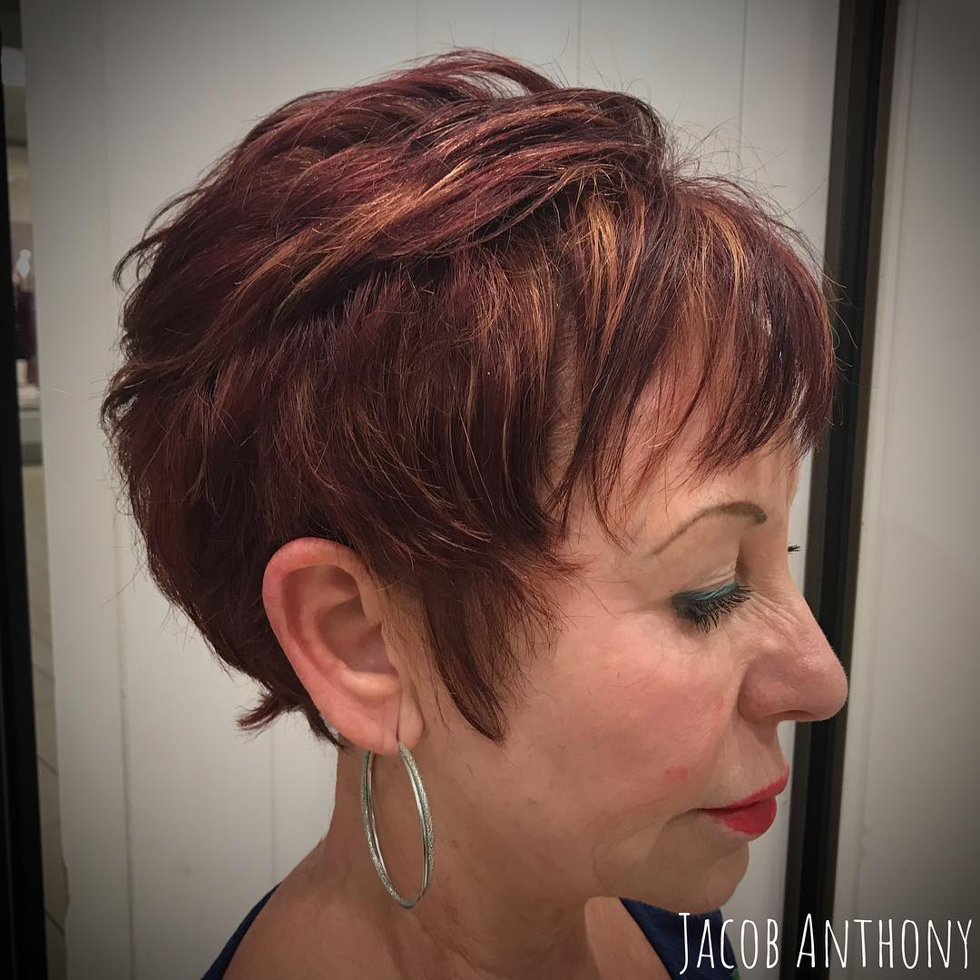 Feathered Mahogany Short Haircut over 60