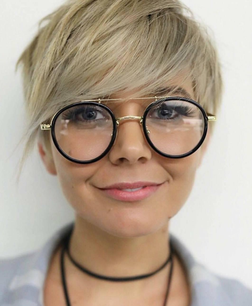 Razored Banged Fine Pixie with Glasses