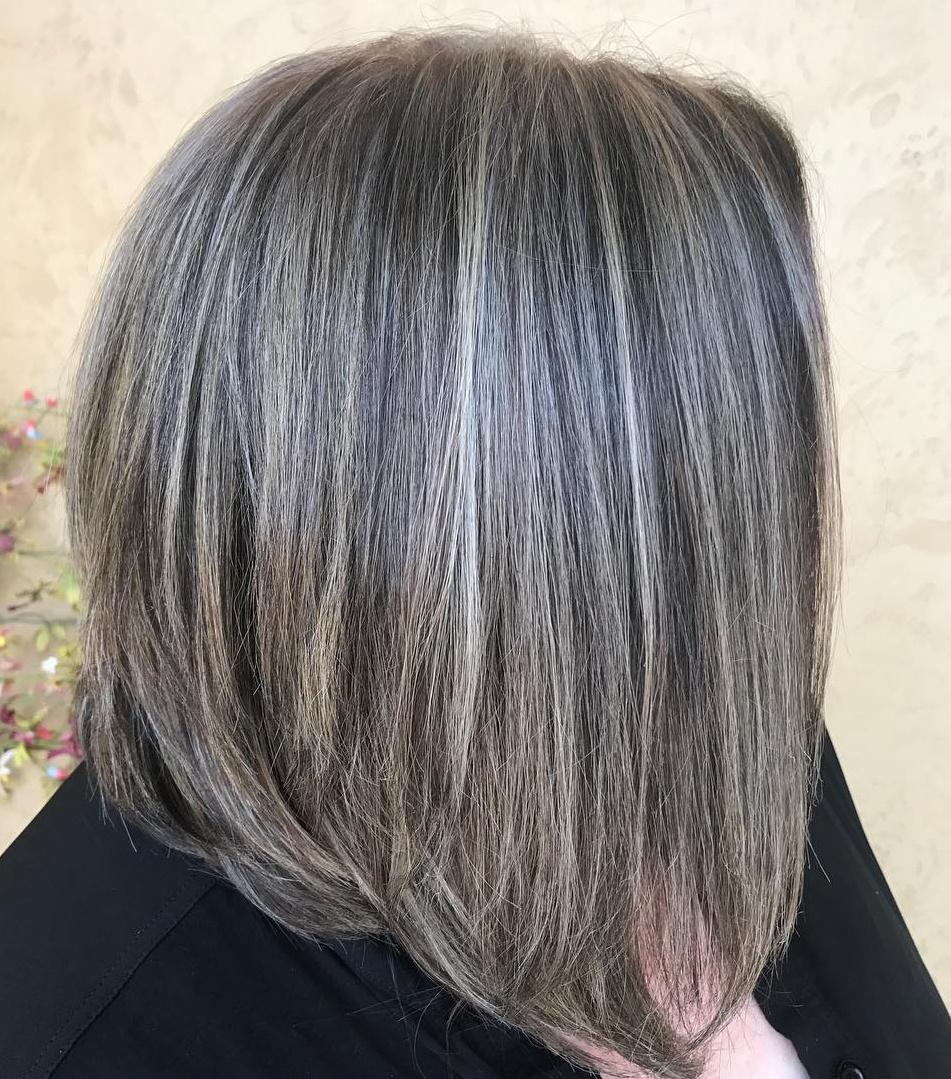 Medium Thin Hair Bob with Gray Balayage