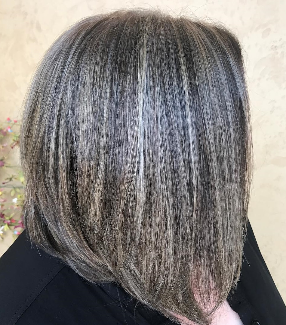 Medium Thin Hair Bob with Gray Balayage