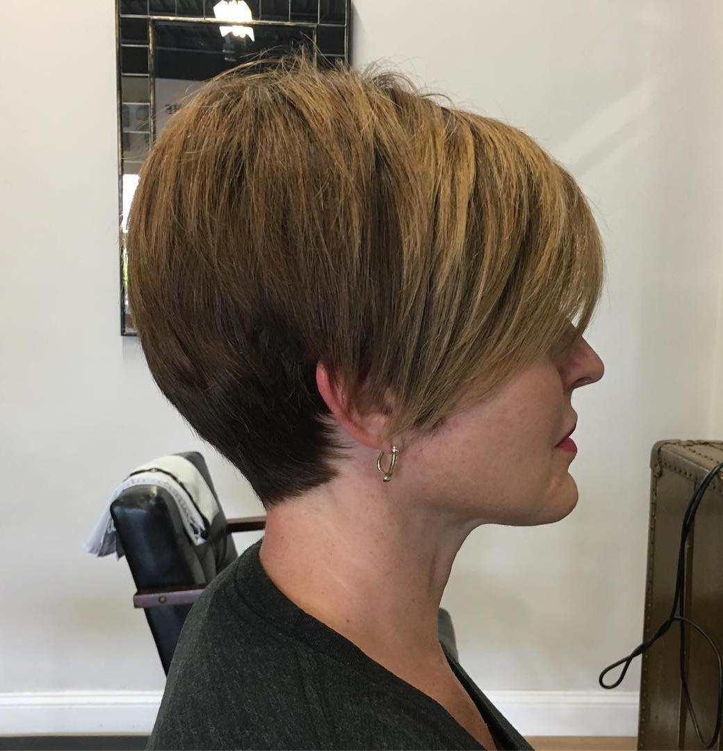 Golden Brown Tapered Layered Pixie with Long Bangs