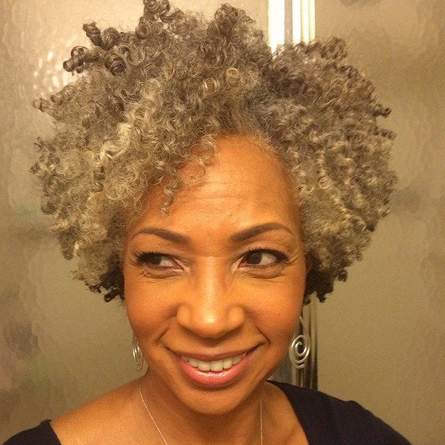 Natural Curly Gray Afro with Lowlights