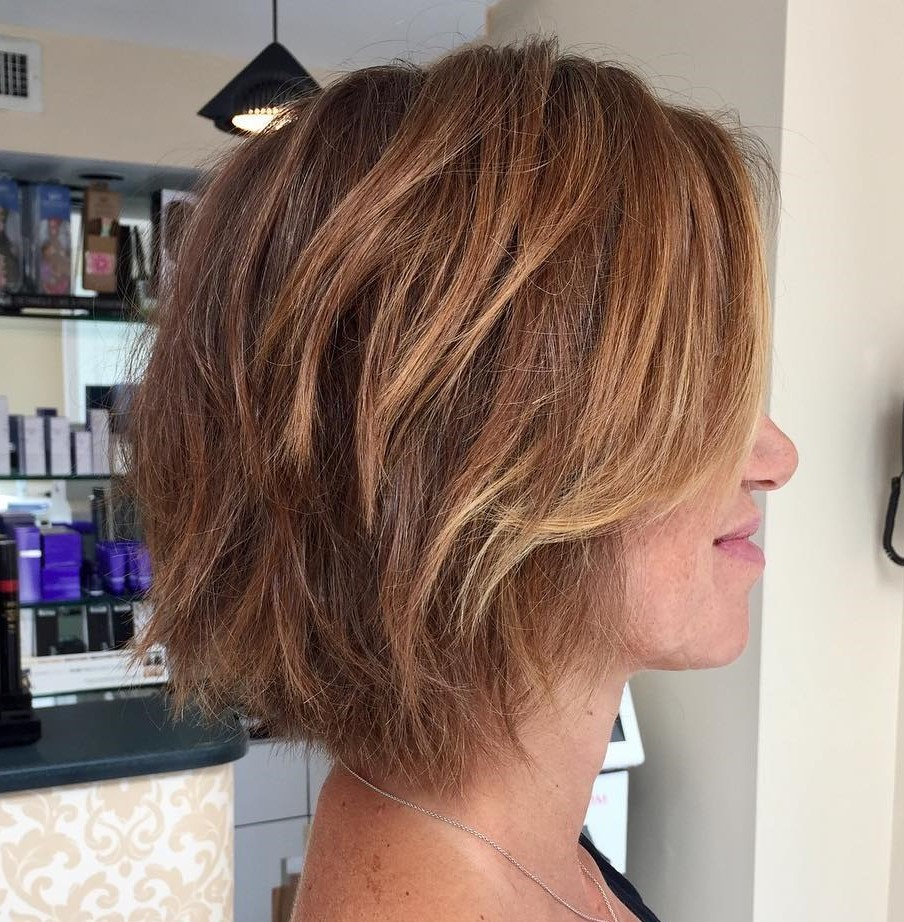 Choppy Copper Bob with Side Bangs