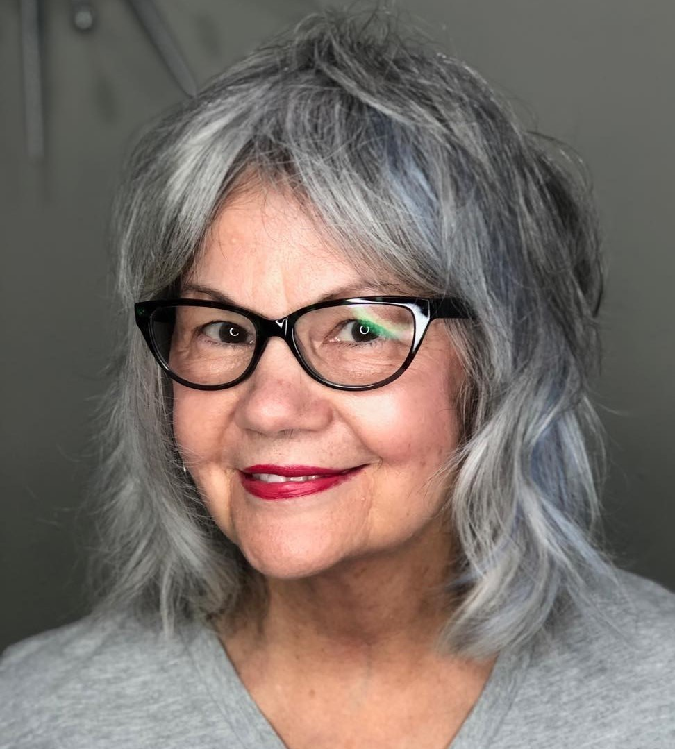 Medium Hairstyle with Layers for Gray Hair