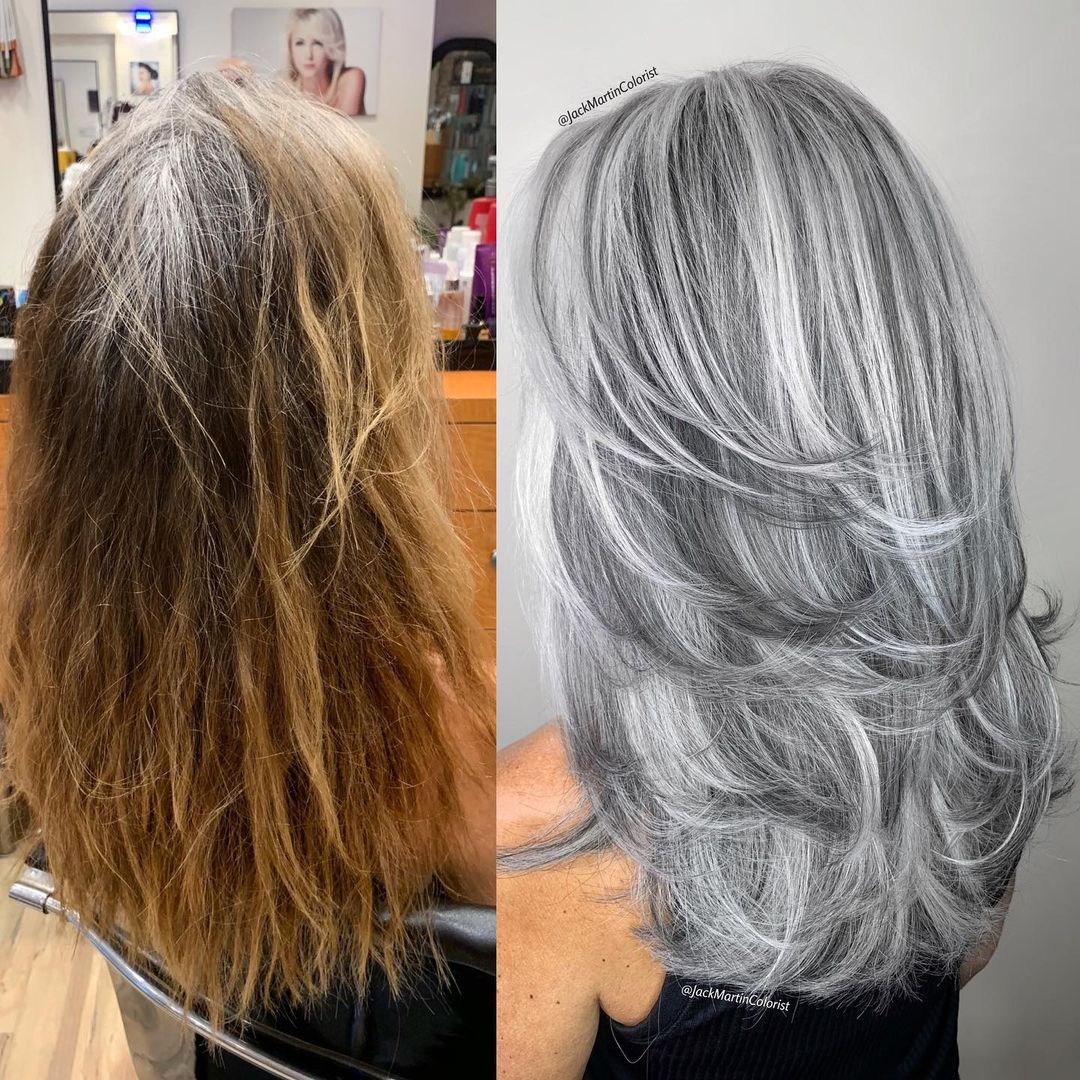 Long Gray Hair with Lowlights