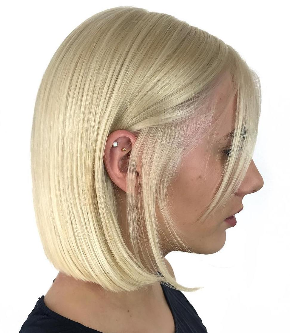 Sleek Straight Light Blonde Blunt Bob