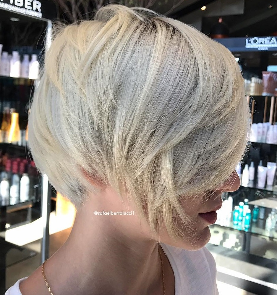 Layered Cool-Toned Blonde Pixie Bob