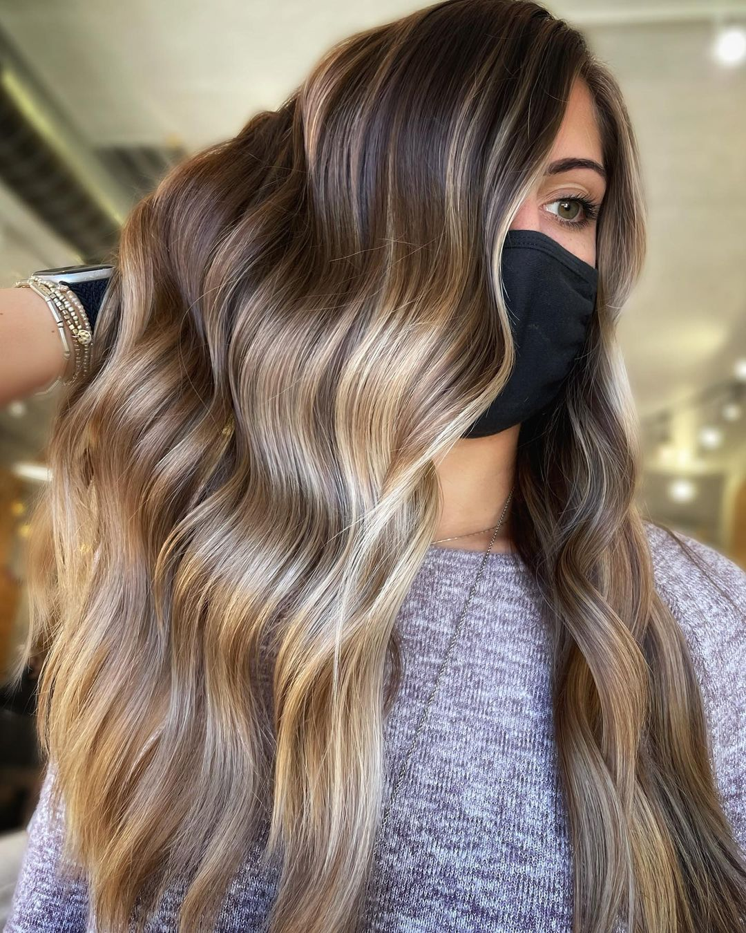 Blonde Balayage on Dark Brown Hair