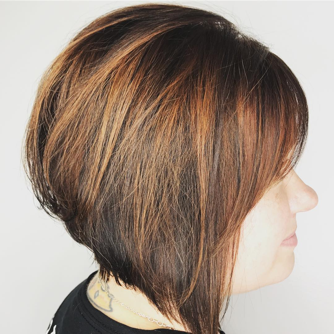 Graduated Copper Brown Thick Bob with Bangs