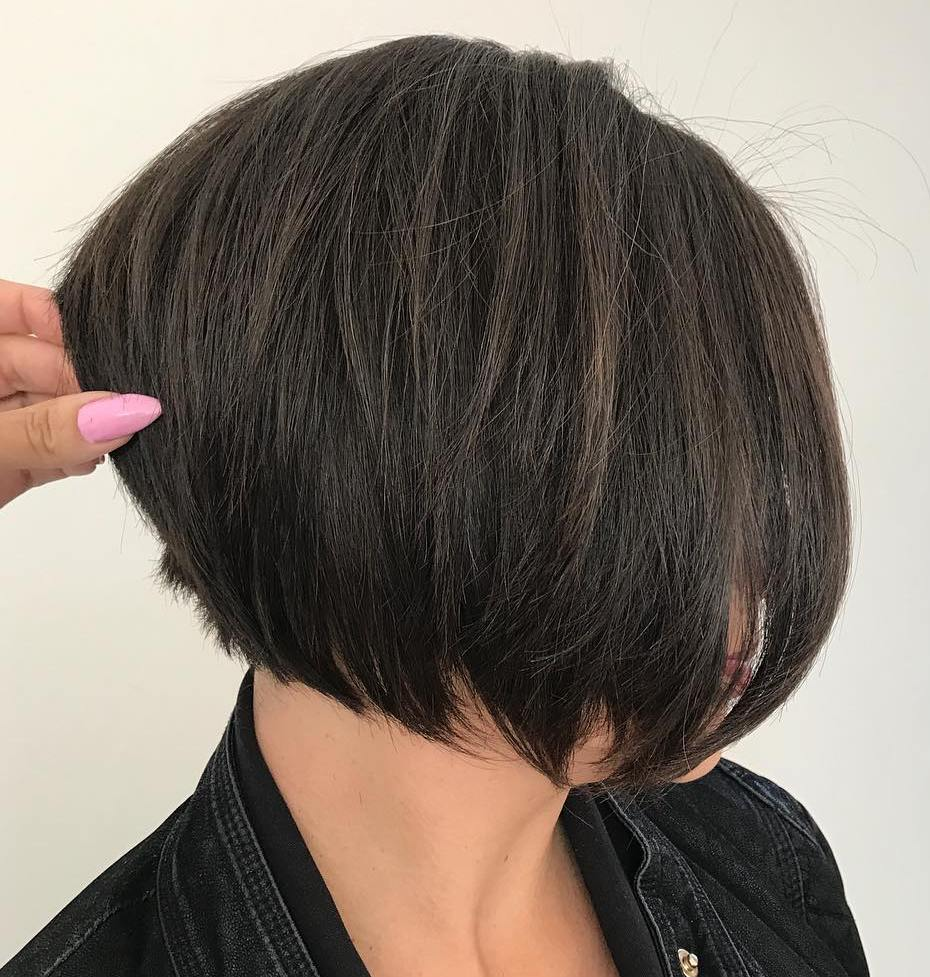 Short Stacked Brunette Layered Bob