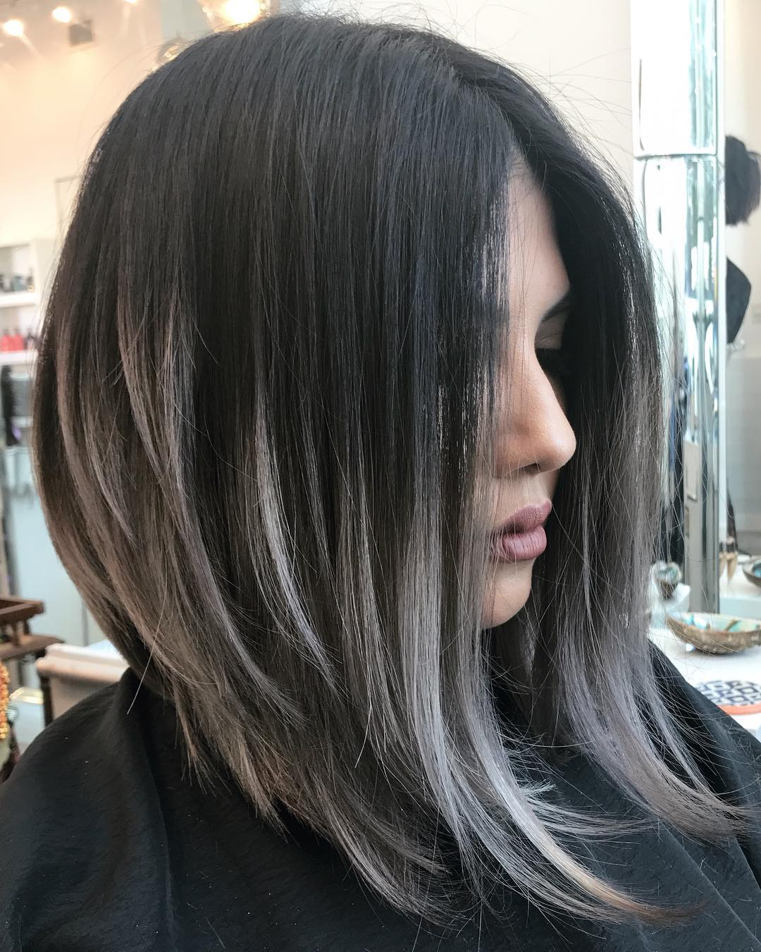 Dark Brunette Lob with Gray Balayage