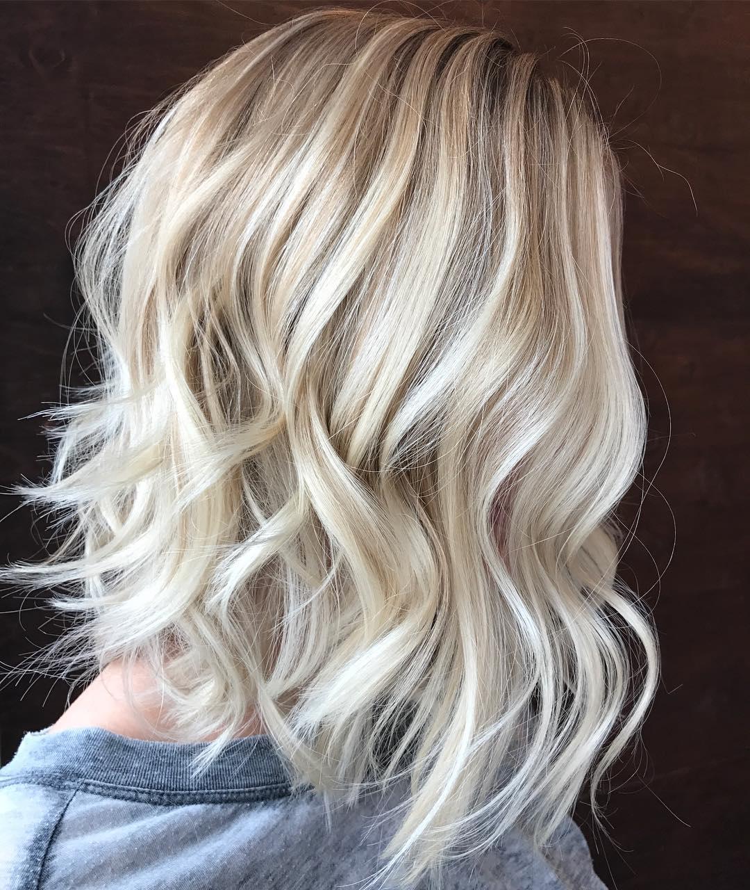 Shaggy Wavy Blonde Balayage Lob