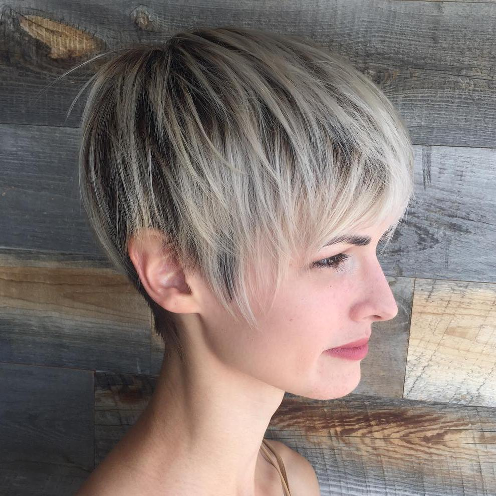 Shaggy Blonde Pixie for Fine Hair with Highlights and Lowlights
