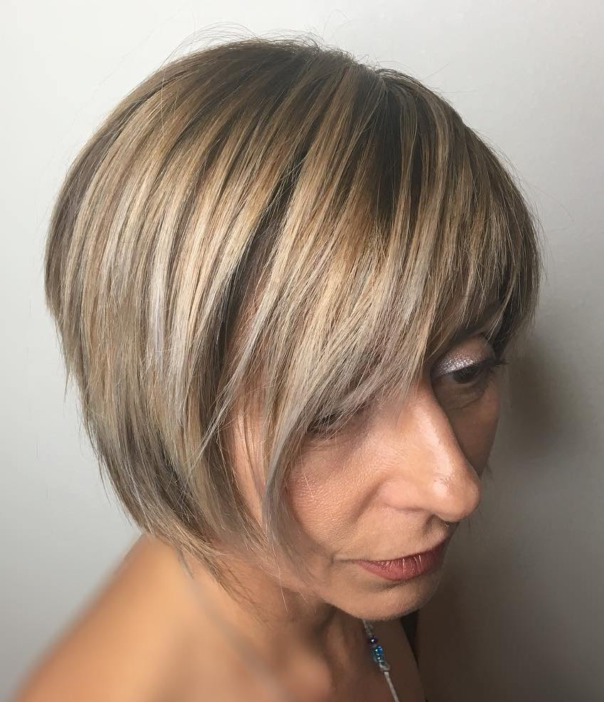 Over 50 Short Beige Blonde Bob with Bangs