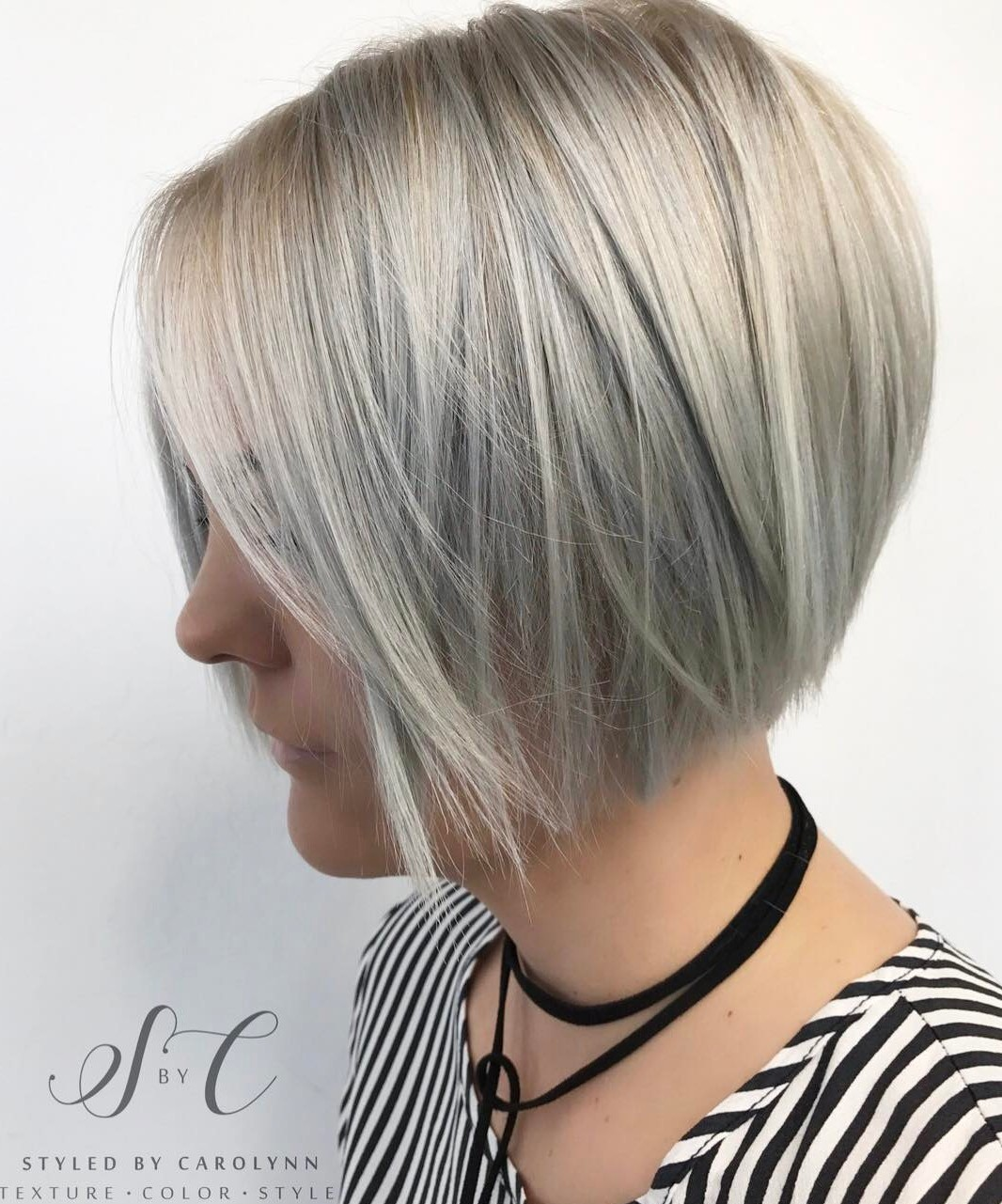 Jaw-Length Stacked Silver Gray Fine Bob