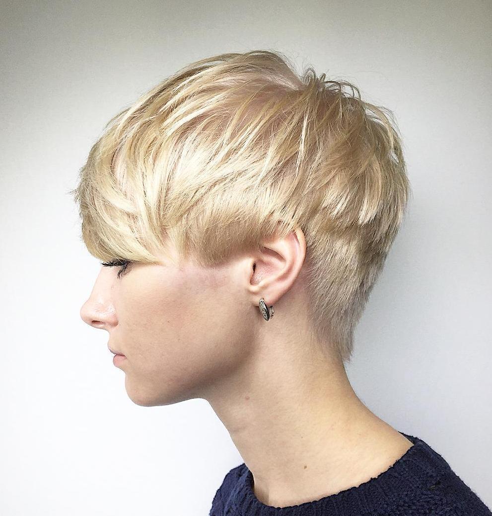 Short Light Metallic Blonde Choppy Pixie