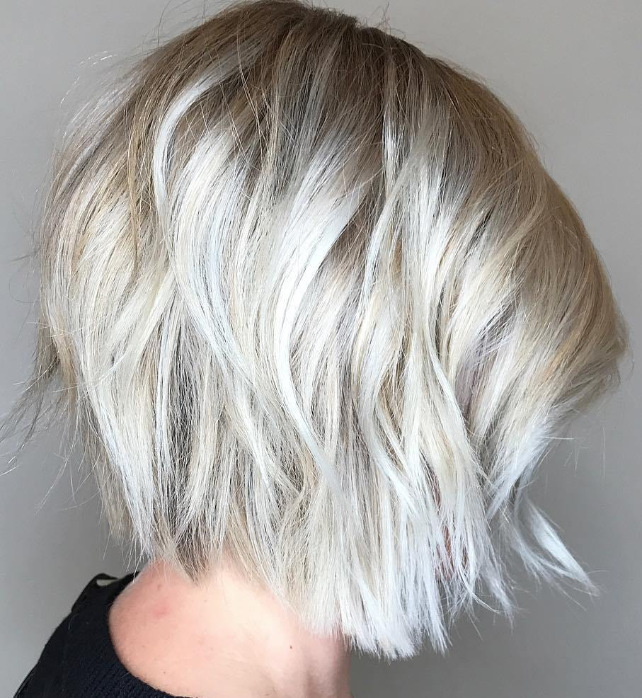Silver Choppy Layered Bob
