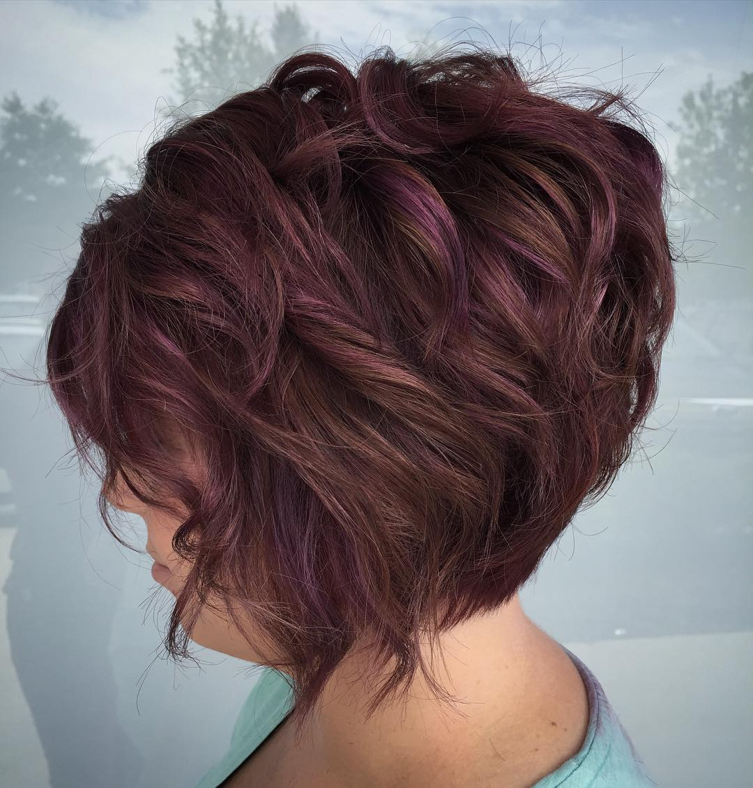 Short Graduated Brown Bob with Subtle Purple Highlights