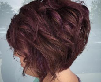 short brown bob with subtle purple highlights