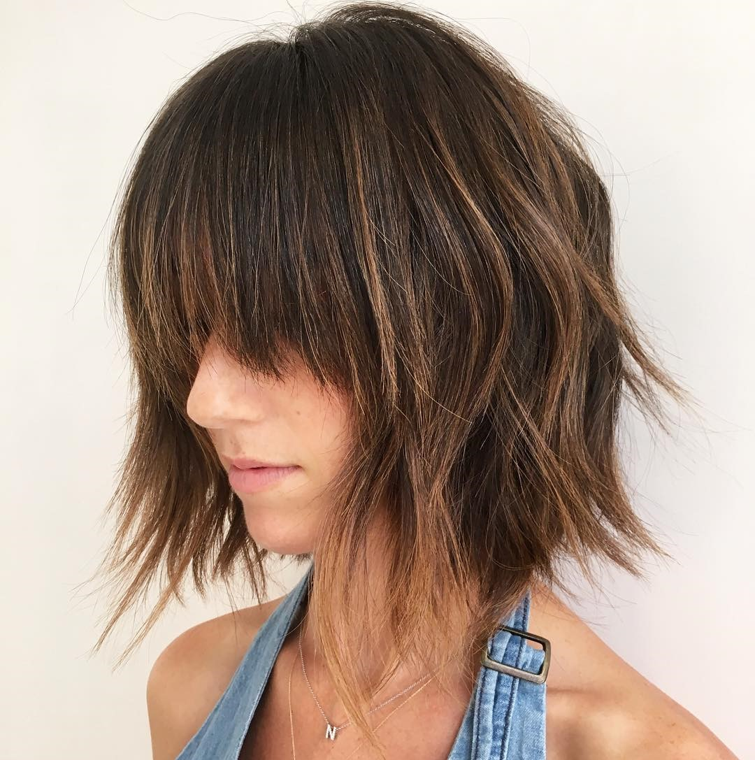 Disconnected Choppy Brunette Bob with Long Bangs
