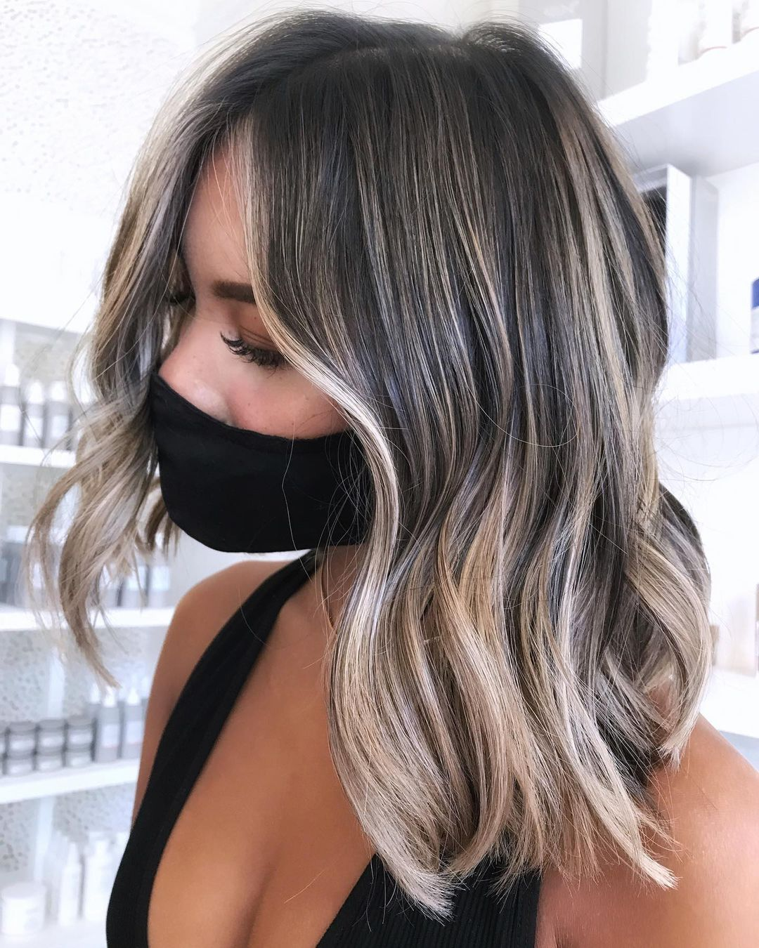 Dark Hair with Beige Blonde Balayage