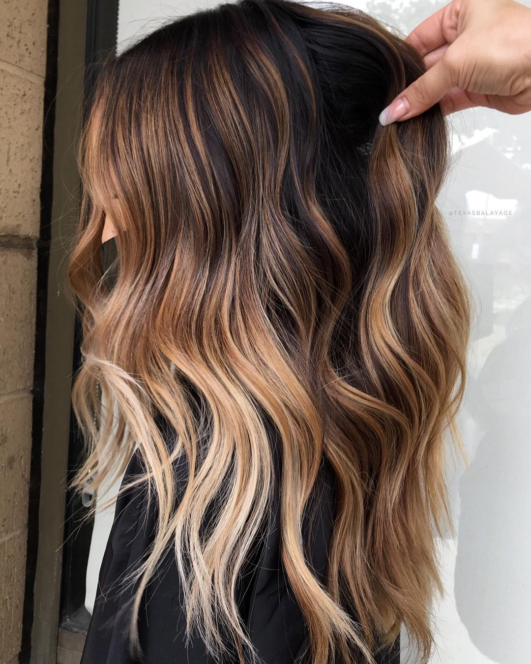 Caramel Brown Balayage with Blonde Highlights