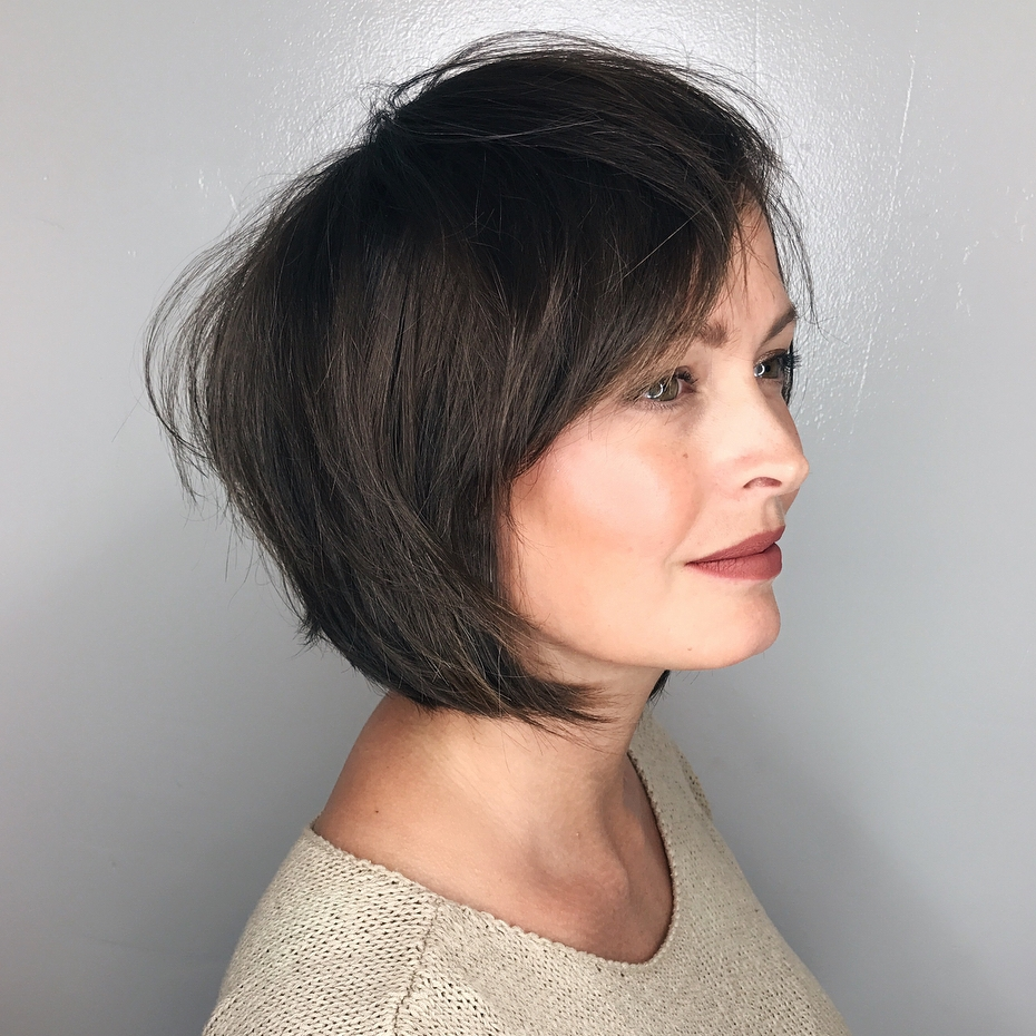 Tousled Brunette Bob with Bangs
