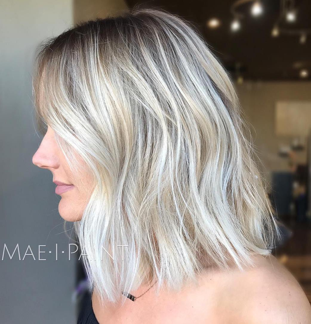 Ash Blonde Balayage Long Bob with Big Waves