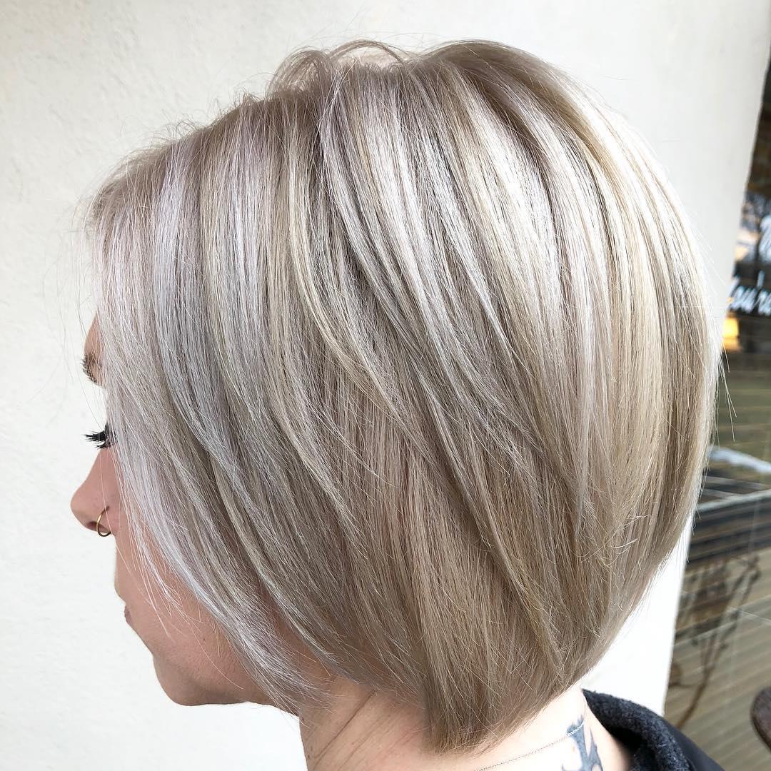 Gray Blonde Layered Medium Bob Hairstyle