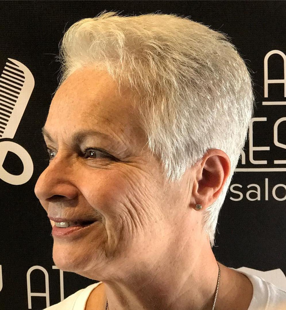 Super Short Gray Buzzcut for Older Women