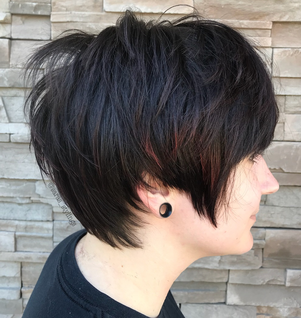 Emo Shaggy Pixie Cut with Red Babylights