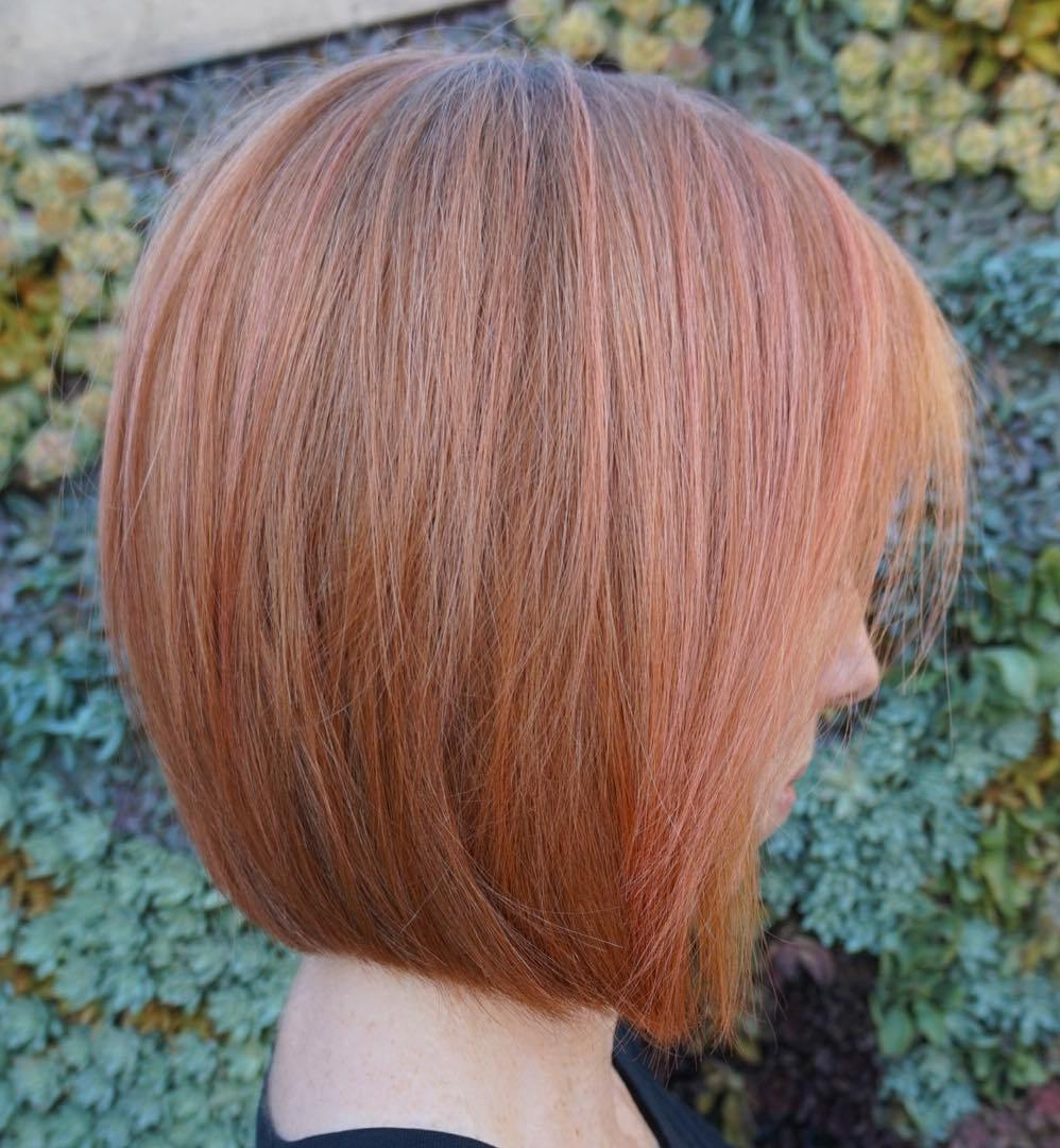 Copper Rounded Bob with Subtle Pink Highlights for Fine Hair