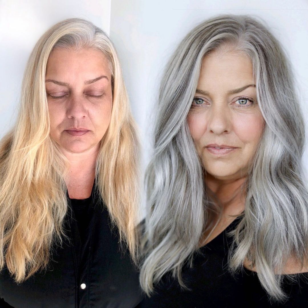 Long Hairstyle with Layers for Gray Hair