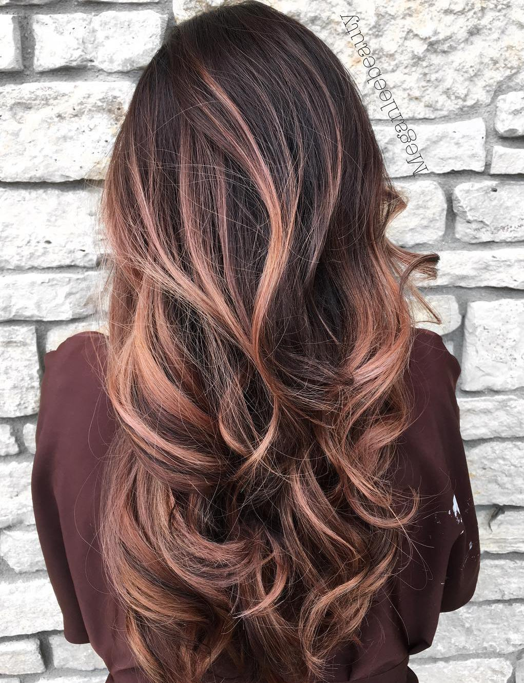 Long Dark Hair with Pastel Pink & Rose Gold Balayage Highlights