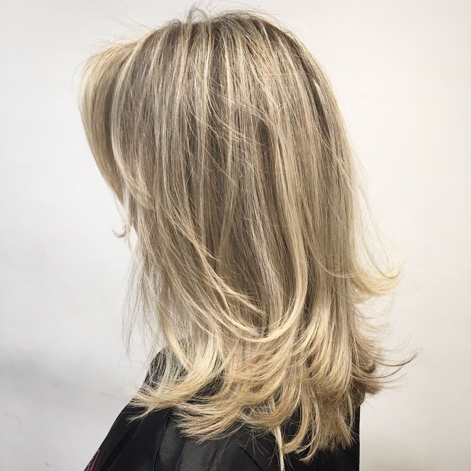 Feathered Blonde Hairstyle for Medium Hair