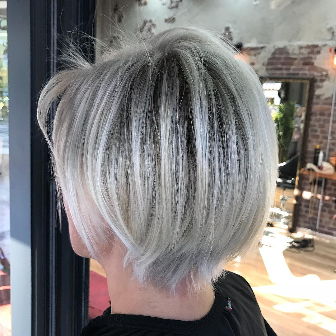 Stacked Gray Bob with Dark Roots