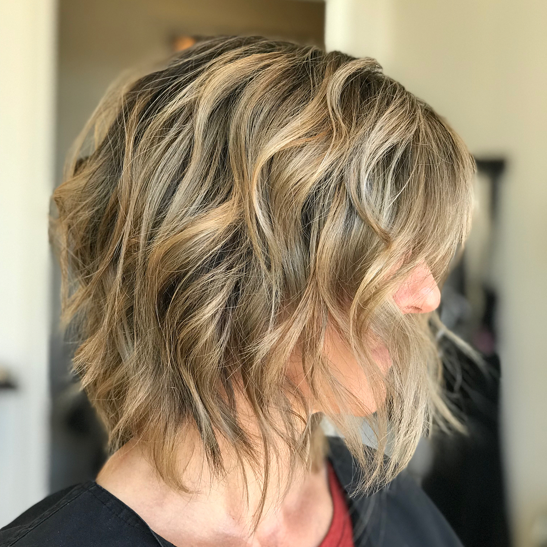 Messy layered bob for fine hair over 50