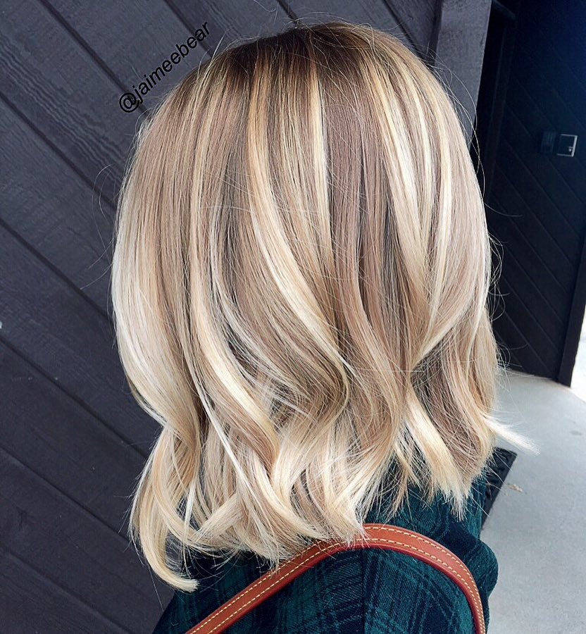 Blonde Balayage on Shoulder Length Bob