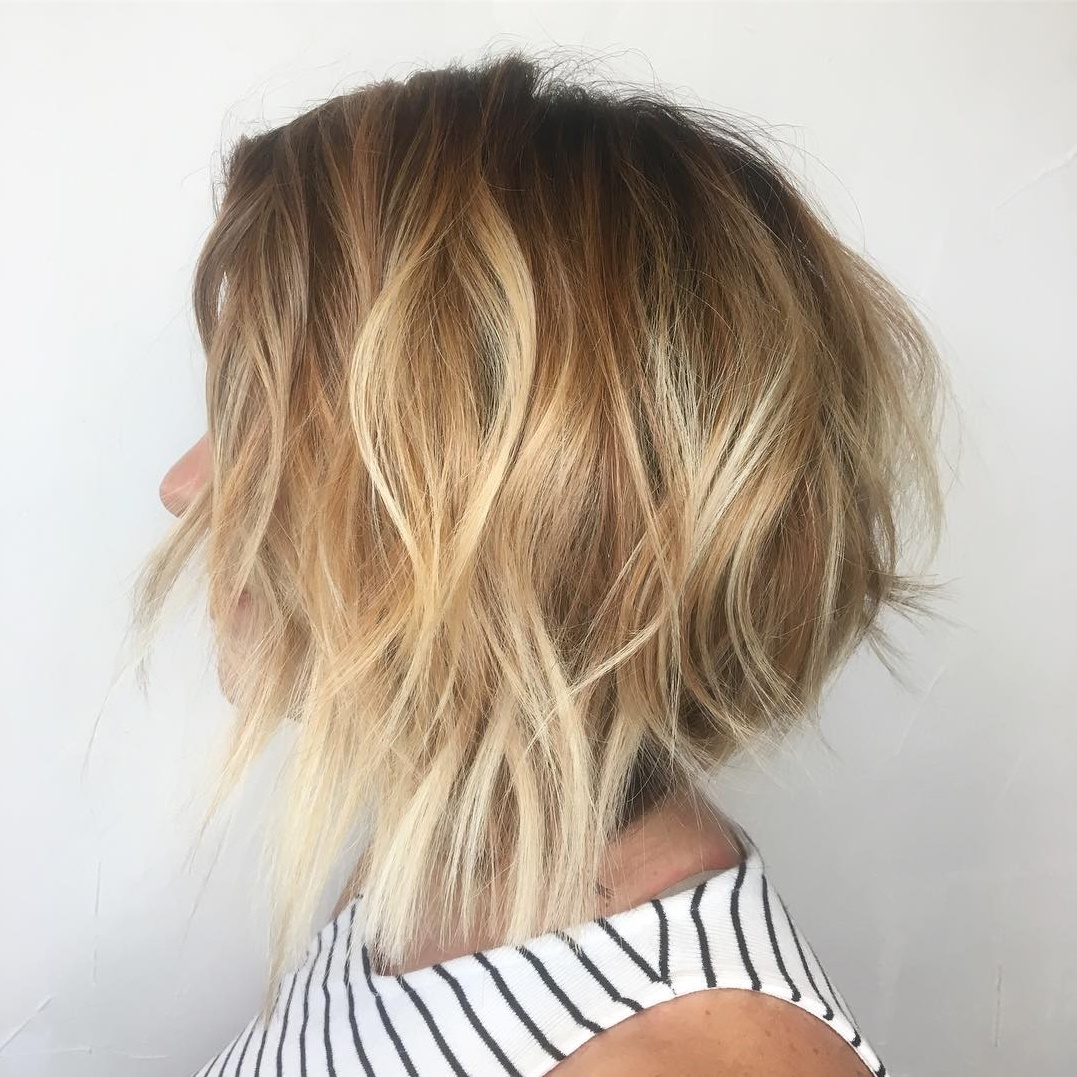 Wavy Shaggy Inverted Brown and Blonde Bob