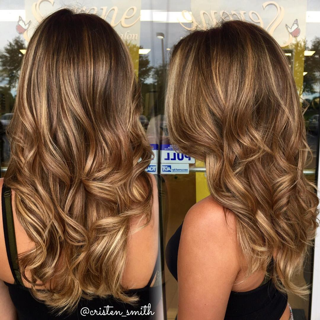 Long Golden Brown Caramel Balayage Hair