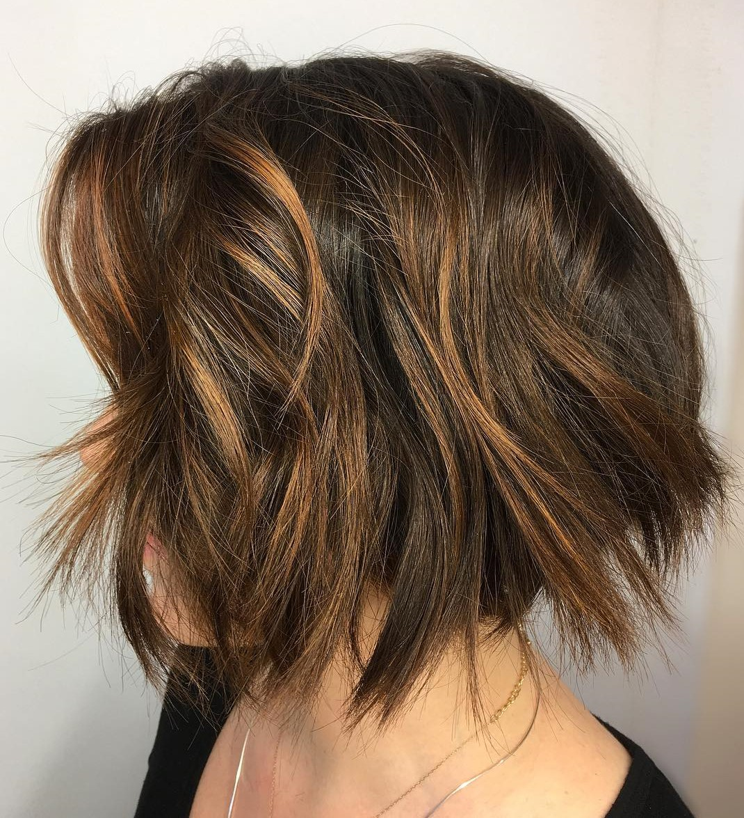 Textured Brown Bob with Copper Highlights