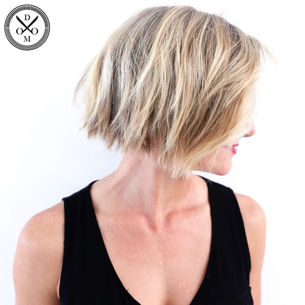 Jaw-Length Square-Shaped Choppy Bronde Bob